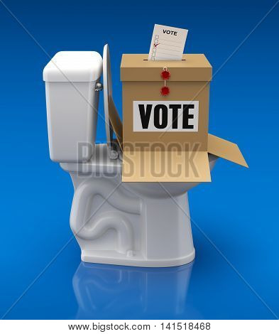 Voting concept with ballot box over toilet bowl - 3D illustration