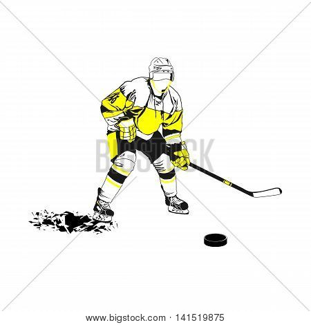 Hockey player. Vector image of a player in hockey.