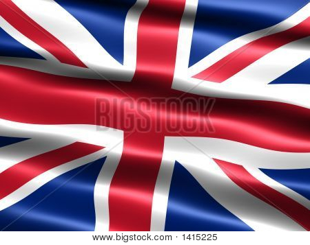 Computer generated illustration of the flag of the United Kingdom with silky appearance and waves poster