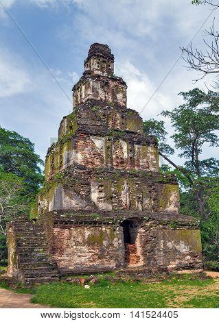 Ruins Satmahal Prasada In Polonnaruwa City Temple Unesco