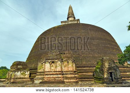 Stupa Ancient City Ruins In Polonnaruwa City Temple Sri Lanka. World Heritage Convention, Unesco