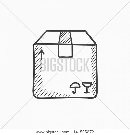 Carton package box vector sketch icon isolated on background. Hand drawn Carton package box icon. Carton package box sketch icon for infographic, website or app.