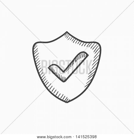 Quality is confirmed vector sketch icon isolated on background. Hand drawn Quality is confirmed icon. Quality is confirmed sketch icon for infographic, website or app.