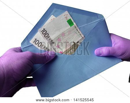 Hand with money in the blue envelope