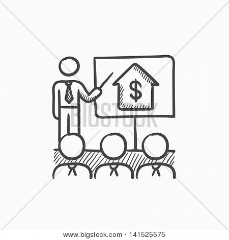 Real estate training vector sketch icon isolated on background. Hand drawn Real estate training icon. Real estate training sketch icon for infographic, website or app.