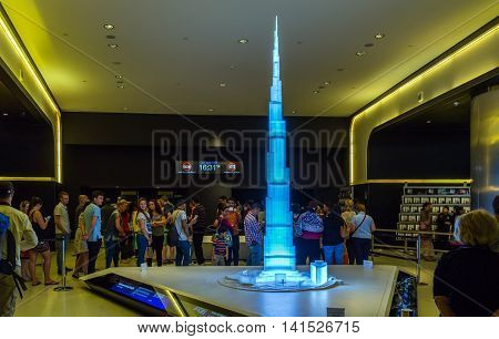 "DUBAI UAE - JANUARY 23: model Burj Khalifa ""Khalifa Tower"" known as Burj Dubai before its inauguration is a megatall skyscraper in Dubai United Arab Emirates. Dubai UAE circa January 2016"