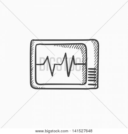 Heart monitor vector sketch icon isolated on background. Hand drawn Heart monitor icon. Heart monitor sketch icon for infographic, website or app.