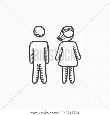 Couple vector sketch icon isolated on background. Hand drawn Couple icon. Couple sketch icon for infographic, website or app.