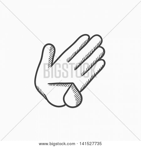 Wounded palm vector sketch icon isolated on background. Hand drawn Wounded palm icon. Wounded palm sketch icon for infographic, website or app.