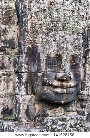Famous Stone Smiling Face In Prasat Bayon, Part Of Angkor