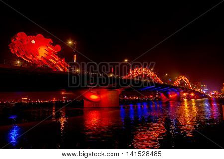 Red Dragon Bridge At Night Danang Vietnam