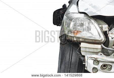 Car crash. Front side of a damaged car. Car insurance concept