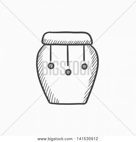 Drum instrument vector sketch icon isolated on background. Hand drawn Drum instrument icon. Drum instrument sketch icon for infographic, website or app.