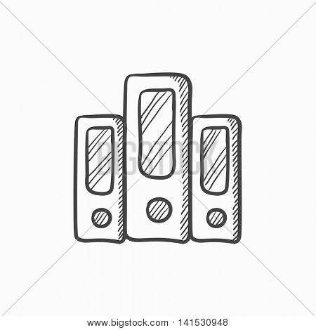Row of folders vector sketch icon isolated on background. Hand drawn Row of folders icon. Row of folders sketch icon for infographic, website or app.