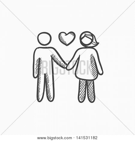 Couple in love vector sketch icon isolated on background. Hand drawn Couple in love icon. Couple in love sketch icon for infographic, website or app.