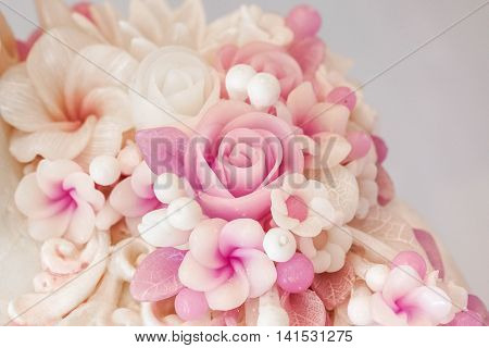 Scented wax candle in beautiful flower shape