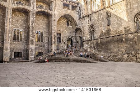 BARCELONA SPAIN - JULY 8 2016: Grand Royal Palace in the King Square Barcelona Spain.