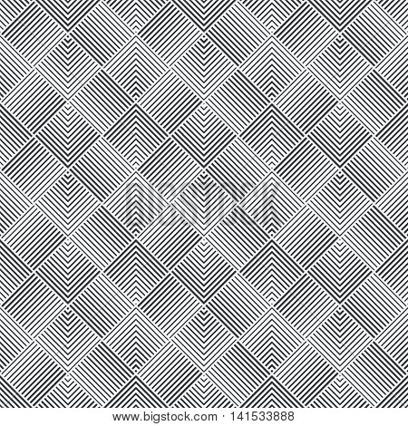 Seamless pattern. Art deco background. Simple elegant texture with thin lines. Regularly repeating geometrical ornament with intersecting linear zigzags. Vector element of graphical design