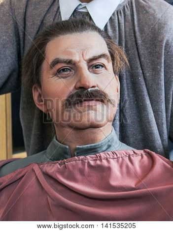 St. Petersburg, Russia - 9 April, The figure of Joseph Stalin, 9 April, 2016. Wax Museum Gallery large Gostiny Dvor.