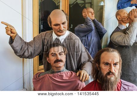 St. Petersburg, Russia - 9 April, Figures historical Russian celebrities, 9 April, 2016. Wax Museum Gallery large Gostiny Dvor.
