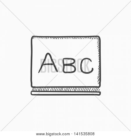 Letters abc on blackboard vector sketch icon isolated on background. Hand drawn Letters abc on blackboard icon. Letters abc on blackboard sketch icon for infographic, website or app.