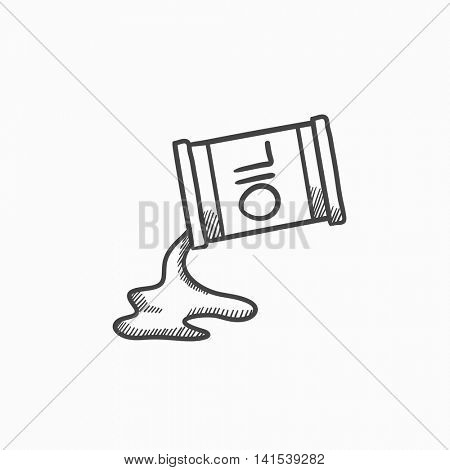 Oil spilling from barrel vector sketch icon isolated on background. Hand drawn Oil spilling from barrel icon. Oil spilling from barrel sketch icon for infographic, website or app.
