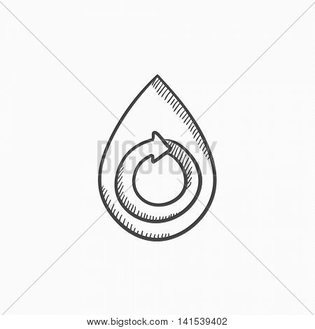 Water drop with circular arrow vector sketch icon isolated on background. Hand drawn Water drop with circular arrow icon. Water drop with circular arrow sketch icon for infographic, website or app.