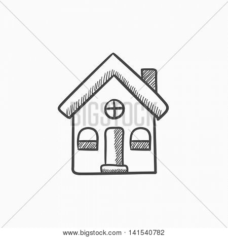Detached house vector sketch icon isolated on background. Hand drawn Detached house icon. Detached house sketch icon for infographic, website or app.