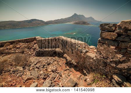 Crete, Greece: Venetian fort in famous Gramvousa island and Balos Lagoon