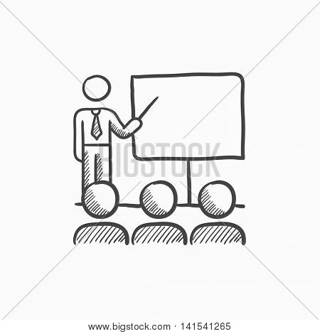 Business presentation vector sketch icon isolated on background. Hand drawn Business presentation icon. Business presentation sketch icon for infographic, website or app.