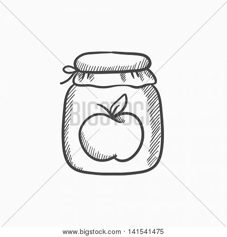 Apple jam jar vector sketch icon isolated on background. Hand drawn Apple jam jar icon. Apple jam jar sketch icon for infographic, website or app.