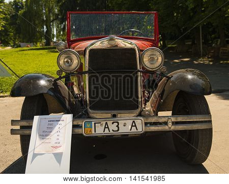 Lviv Ukraine - June 12 2015:Old retro car GAZ-A exhibited for participation in festival Leopolis grand prix 2015 Ukraine.