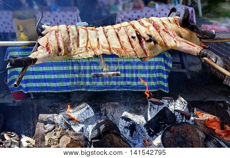 Traditional black-haired pig barbecue in Taiwan mountain village