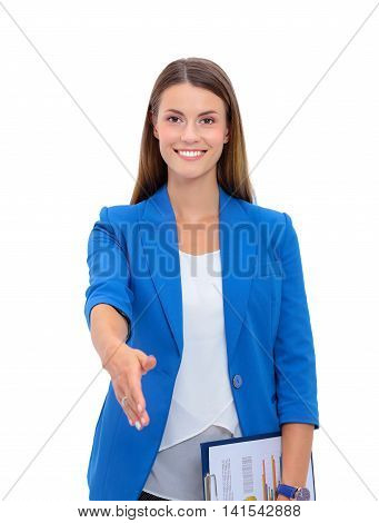 Business woman with arm extended for a handshake