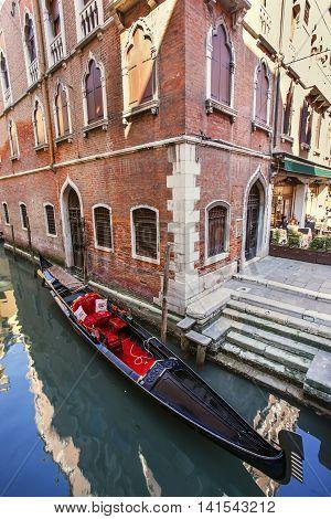 Romantic View Of Gondolas In Venice, Italy