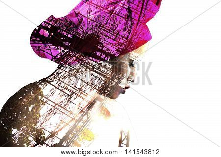 Double exposure portrait of beautiful latin girl mixed with image of panoramic wheel. Beauty concept.