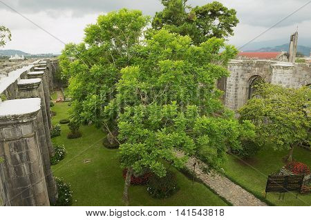 CARTAGO, COSTA RICA - JUNE 17, 2012: View to the inner yard of the Santiago Apostol cathedral ruins in Cartago, Costa Rica.