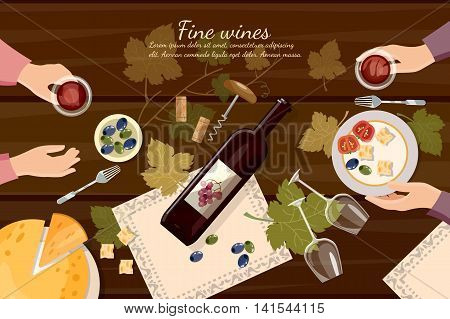 Wine tasting top view wine bottle and grapes on wooden table cartoon vector