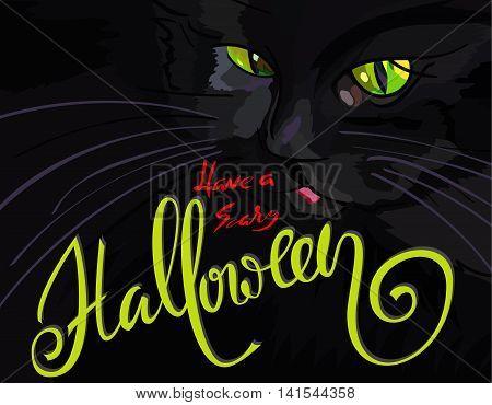 Halloween illustration with black cat. Helloween handwritten lettering. Vector illustration. EPS10.