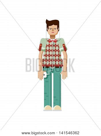 Stock vector illustration isolated of European man with dark hair, man with smartphone in hand, man listen music from phone, man in polo shirt with diamond pattern, flat style on white background