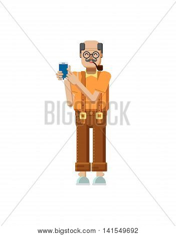 Stock vector illustration isolated European elderly retiree, gray hair, mustache, in glasses, pipe in mouth, trousers with braces, old man touch screen smartphone by hand flat style white background