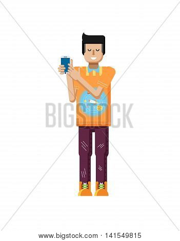 Stock vector illustration isolated of European man with dark hair, man touch screen smartphone by hand, man shows screen of phone, T-shirt with space system, rocket in flat style on white background