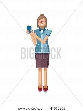 Stock vector illustration isolated European Brown hair woman with glasses, hipster blouse buttoned, woman touch screen smartphone by hand, woman shows screen of phone in flat style on white background