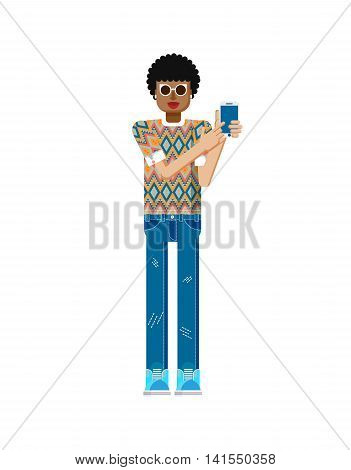Stock vector illustration isolated of African American woman dark hair, touch screen smartphone by hand, woman shows screen of phone, sportswoman, touch screen, jeans in flat style on white background