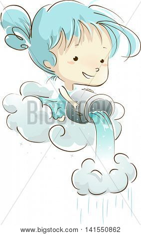 Illustration of a Little Girl Pouring a Bucket of Water Unto a Cloud