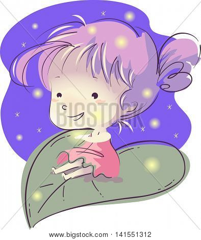 Illustration of a Little Girl Sitting on a Giant Leaf Surrounded by Fireflies