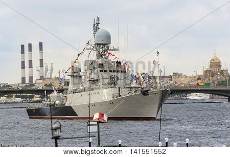 St. Petersburg, Russia - 31 July, Warship on the roads, 31 July, 2016. Festive parade of warships on the Neva River in St. Petersburg.