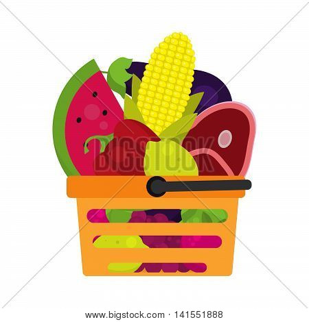 Shopping cart with beautiful vegetables, meat. Basket with food. Vector basket with colorful vegetables in a flat design. Shopping cart vector.