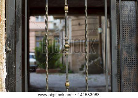 Verical Metal Bar Gates at Town Yard