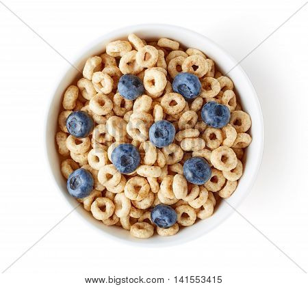 Bowl Of Whole Grain Cheerios Cereal With Blueberries Isolated On White, From Above
